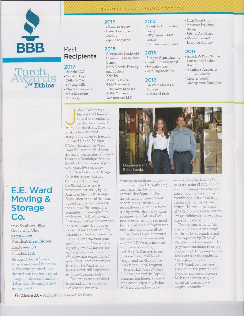 E.E. Ward Featured In Columbus CEO For BBB Torch Awards